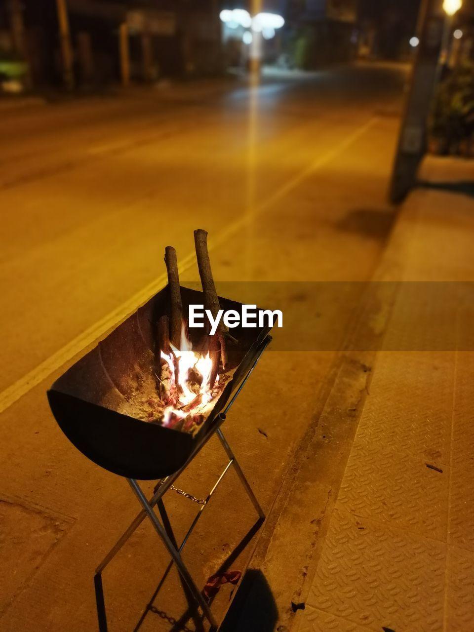 flame, burning, heat - temperature, glowing, night, metal, no people, outdoors, fire pit, illuminated, close-up, diya - oil lamp, food, oil lamp