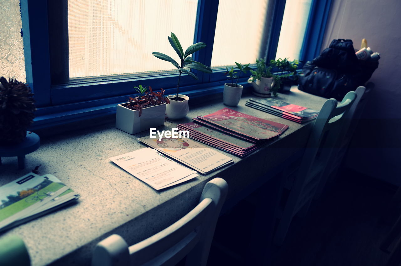 desk, table, indoors, office, book, plant, no people, paper, technology, flower, day, desk organizer