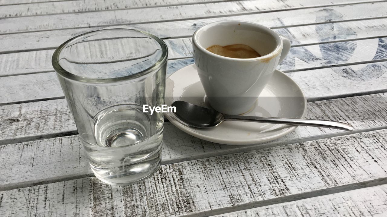 drink, refreshment, food and drink, crockery, glass, cup, table, drinking glass, household equipment, coffee, mug, coffee - drink, coffee cup, kitchen utensil, spoon, high angle view, eating utensil, still life, food, no people, tea cup, place mat, tray