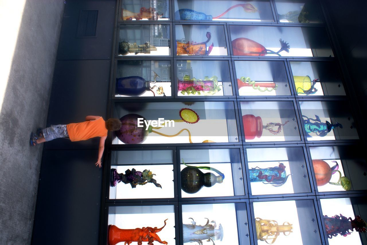 Rear View Of Boy Looking At Decoration In Shelves