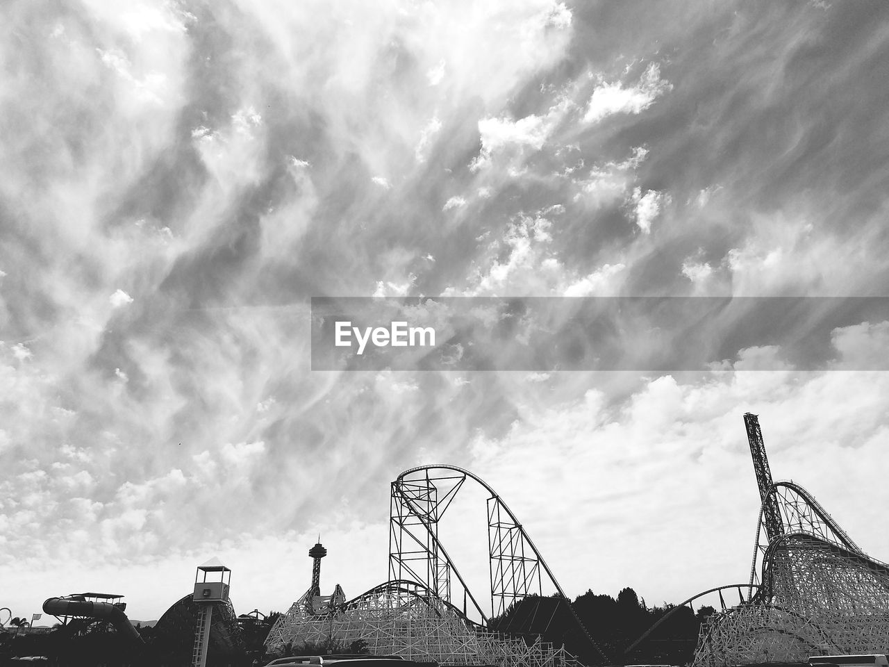 Low Angle View Of Rides Against Clouds