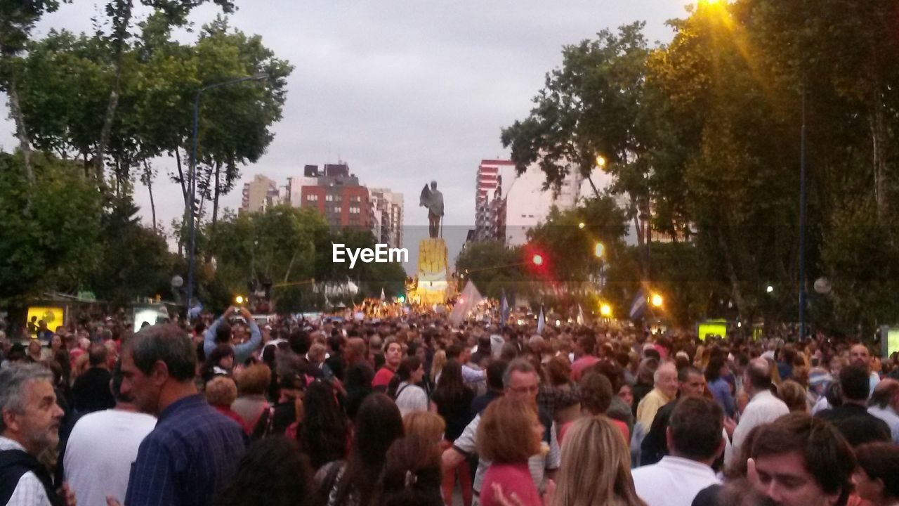 Huge Crowd Of People Gathered For Celebration On Street