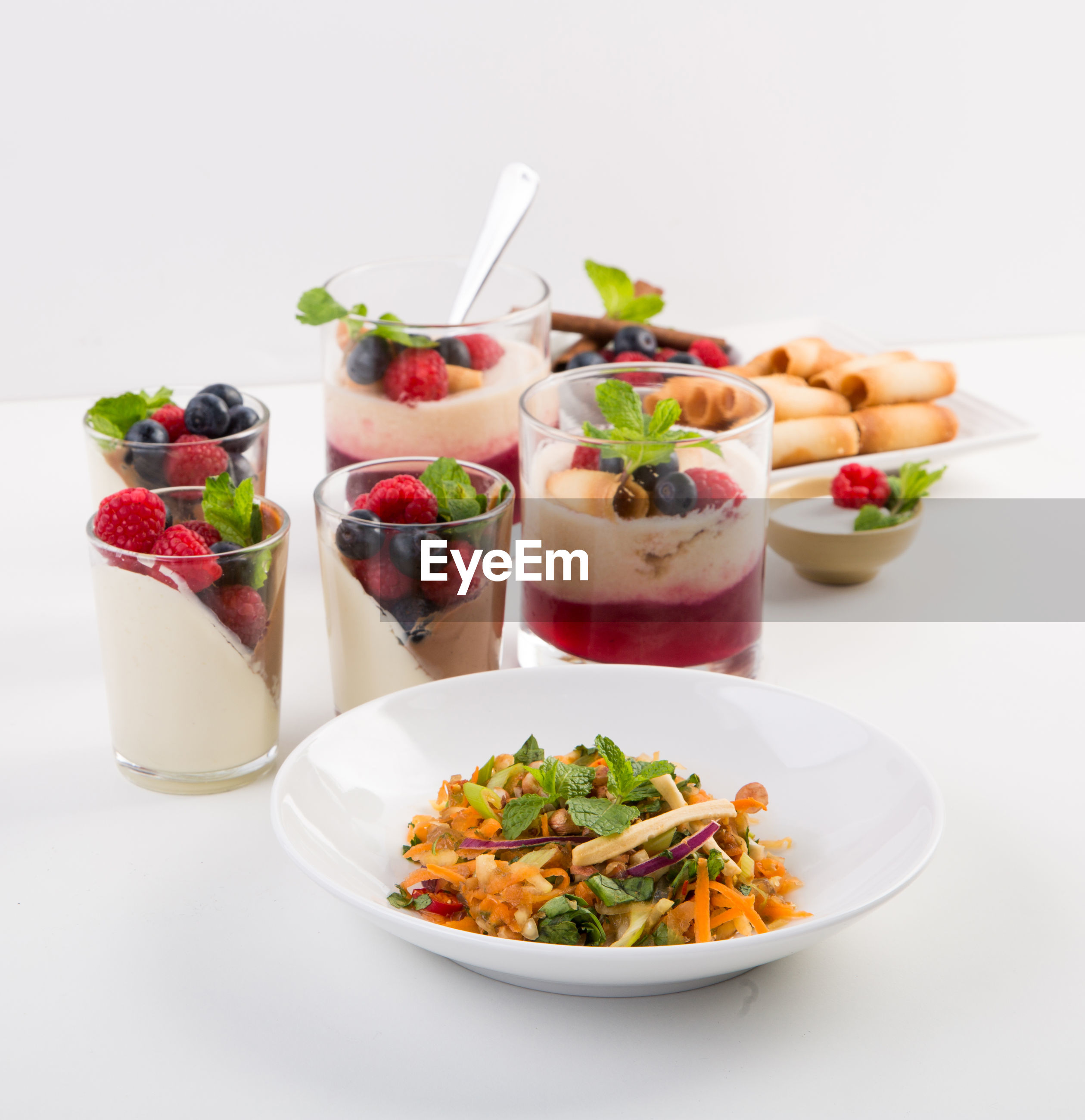Close-up of food over white background