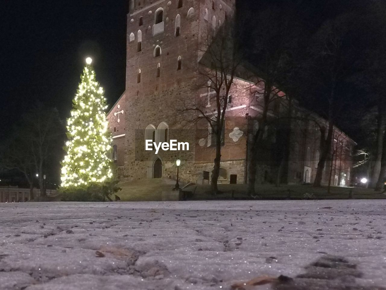 night, illuminated, building exterior, tree, architecture, winter, no people, built structure, snow, christmas, outdoors, cold temperature, city, sky
