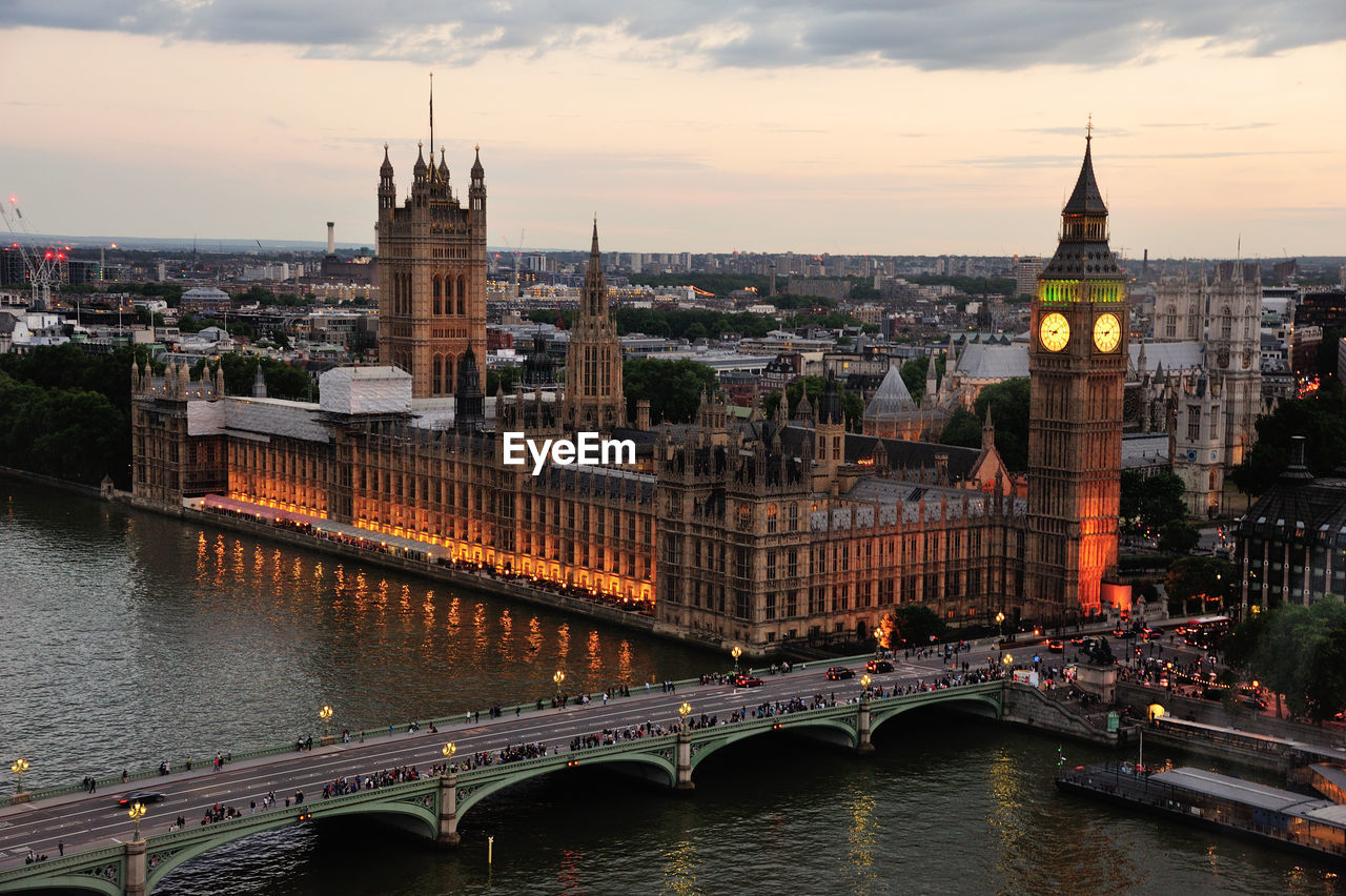High angle view of westminster bridge over thames river by big ben in city