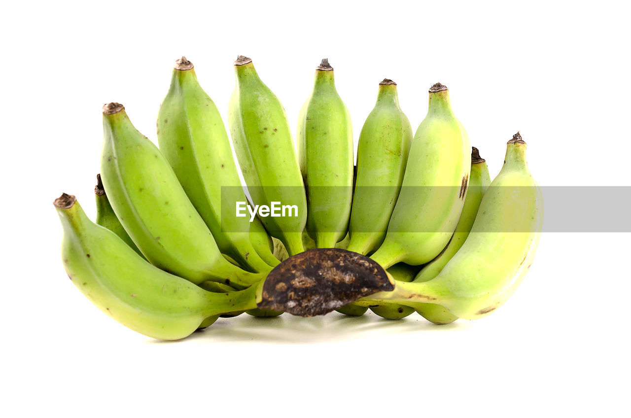 High angle view of banana on white background