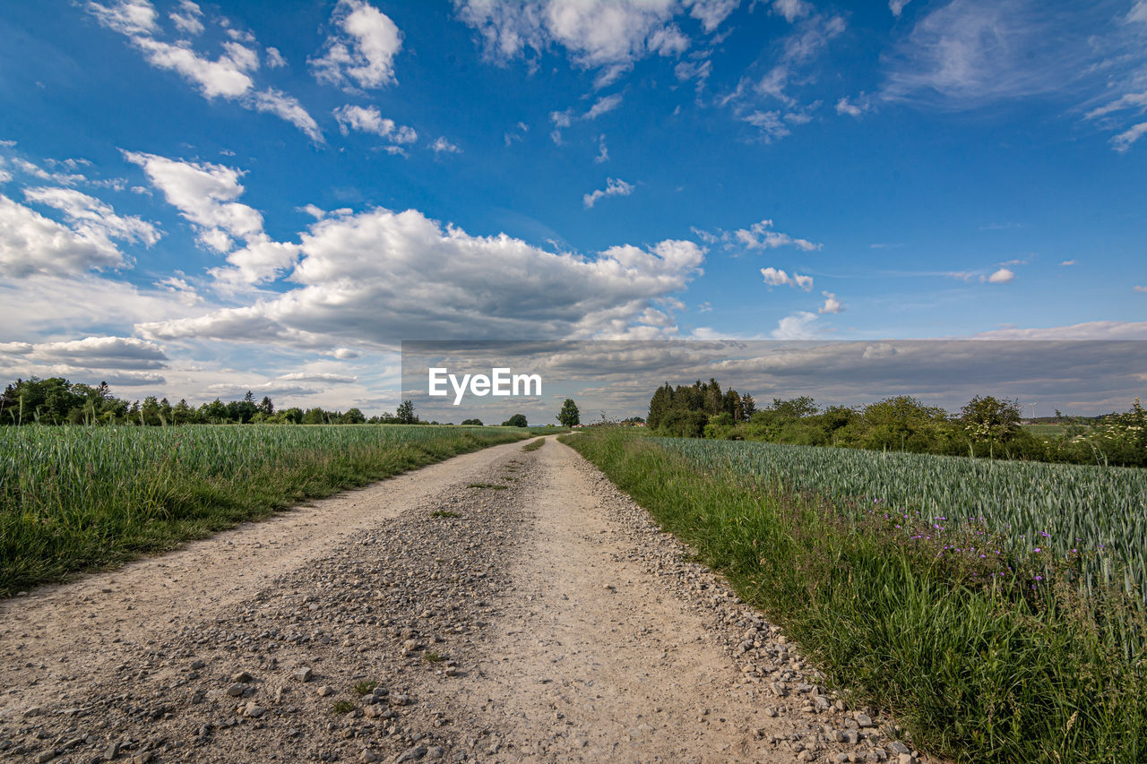 ROAD PASSING THROUGH FIELD AGAINST SKY