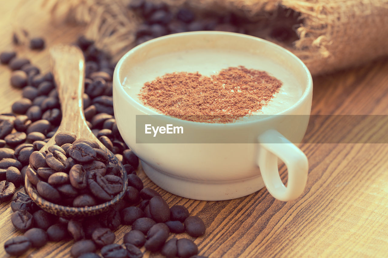 food and drink, food, still life, freshness, coffee - drink, coffee, table, brown, roasted coffee bean, indoors, cup, close-up, refreshment, drink, coffee cup, no people, mug, selective focus, high angle view, ingredient, crockery