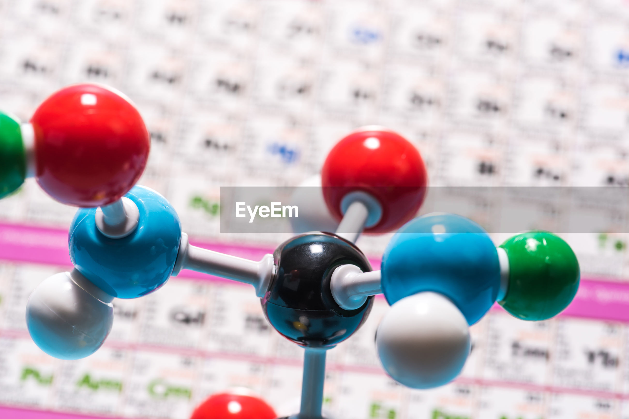 Close-up of colorful molecules model