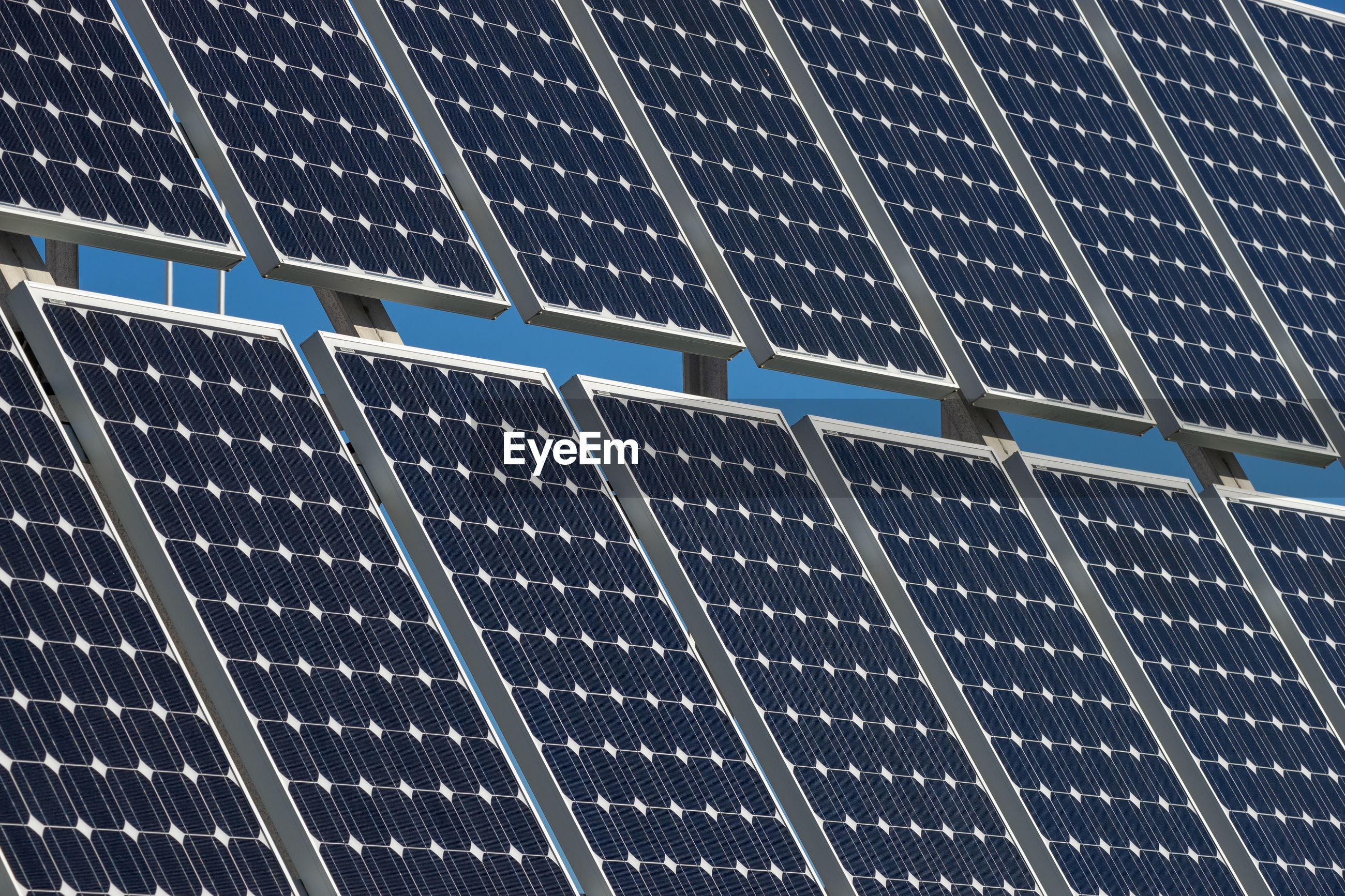 Solar panels with blue sky background