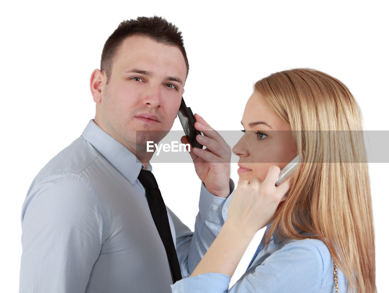 Business people using phone against white background
