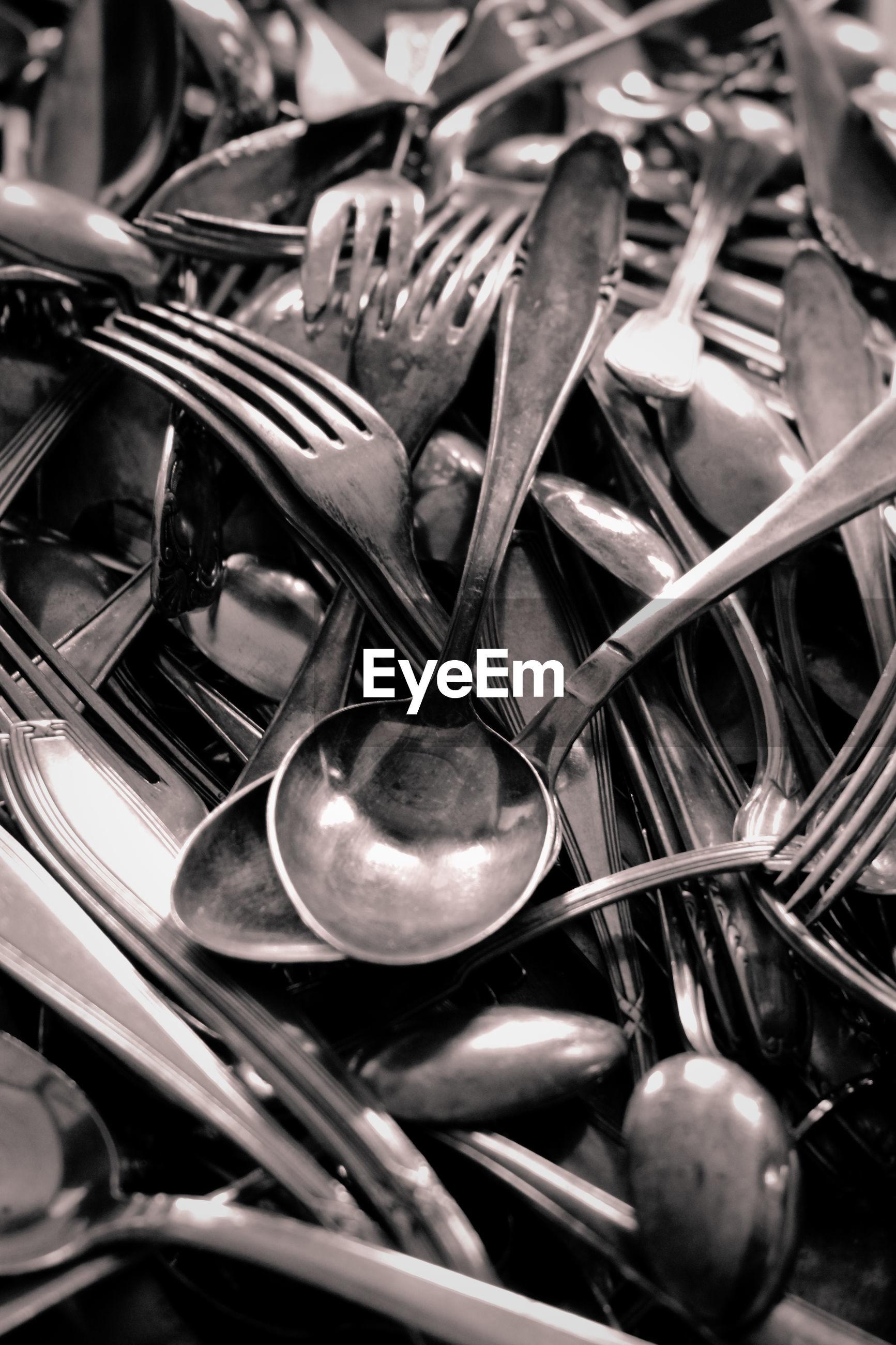 Full frame shot of spoons and forks
