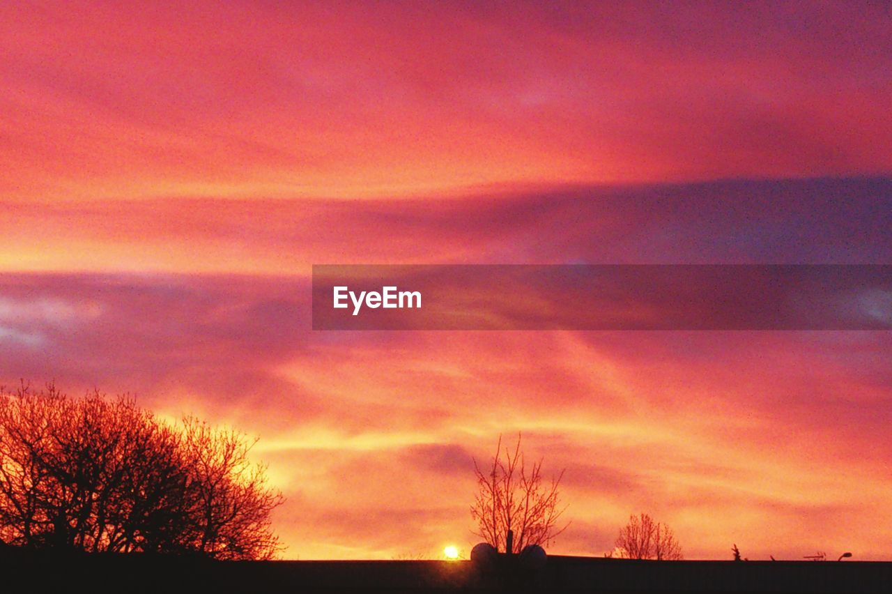 sunset, silhouette, scenics, nature, tranquil scene, tranquility, beauty in nature, sky, bare tree, tree, orange color, dramatic sky, cloud - sky, no people, outdoors, low angle view, landscape, lone, day