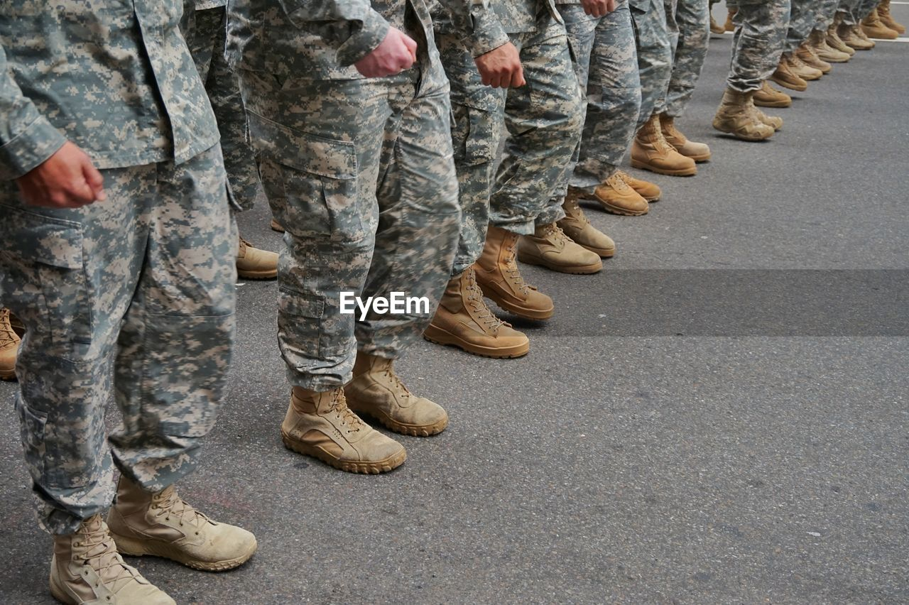 Low section of soldiers standing in a row