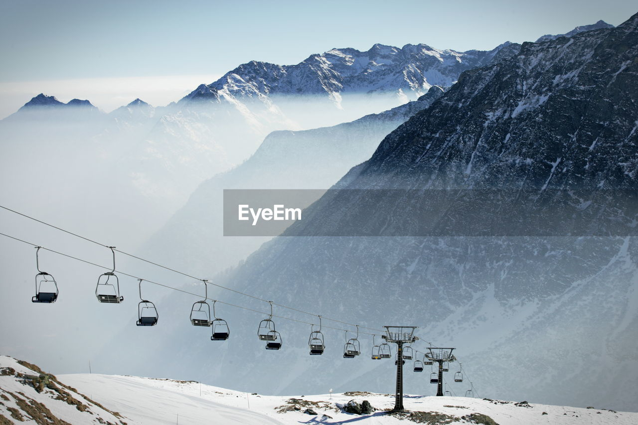 Empty chairlift due to covid-19 pandemic in a ski resort in italy