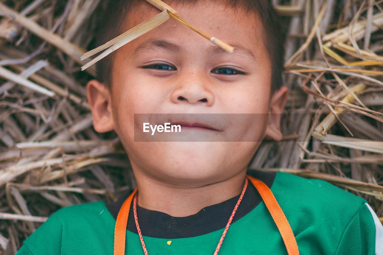 Close-up portrait of cute boy lying on hay