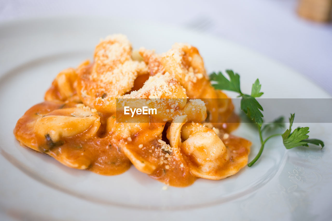 Close-Up Of Cappelletti Pasta In Plate