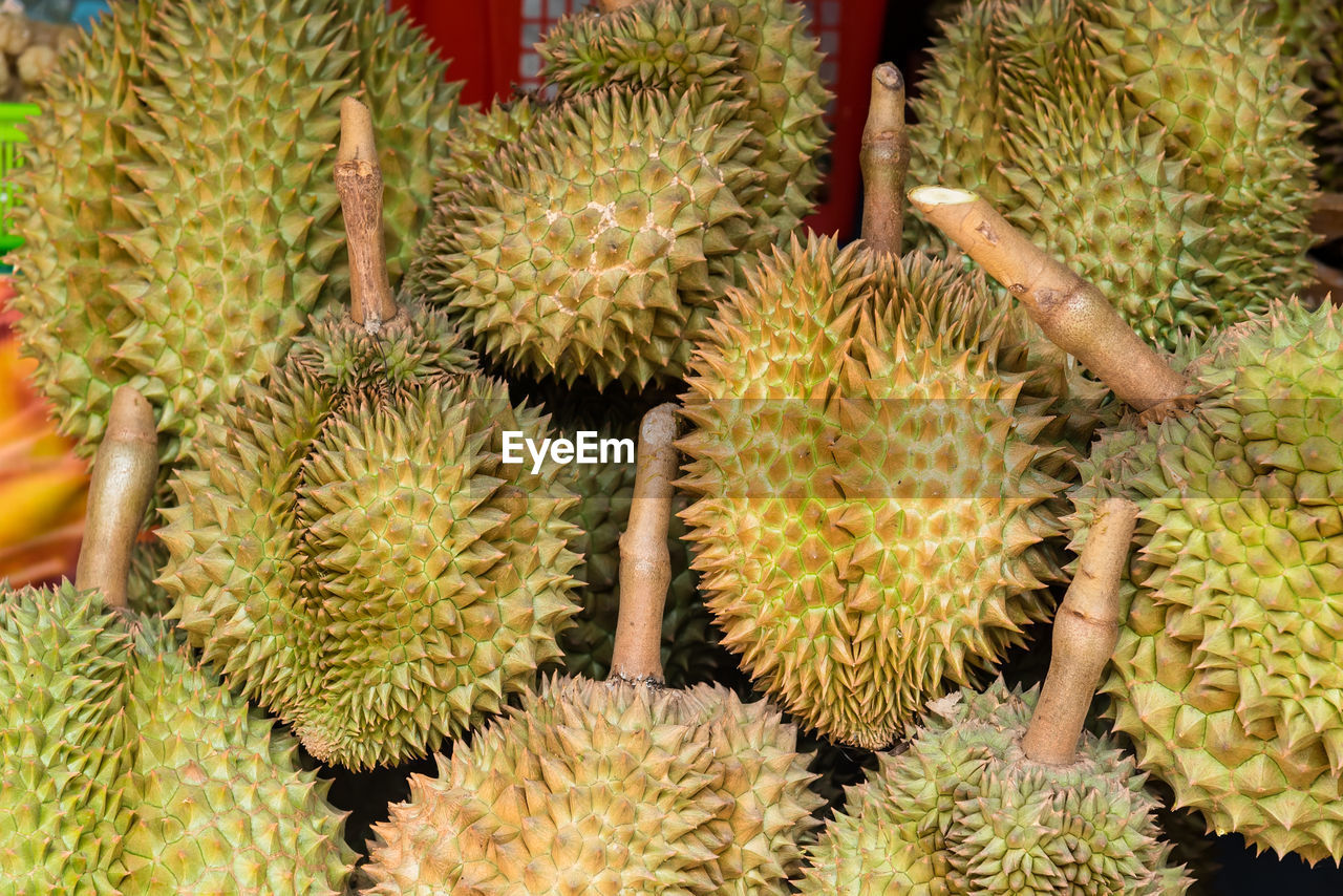 Close-up of durians for sale at market stall