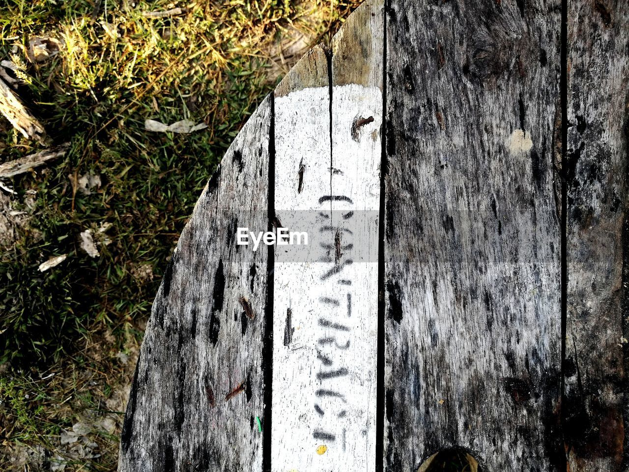 text, nature, day, plant, no people, wood - material, high angle view, grass, architecture, communication, outdoors, stone, history, the past, weathered, old, western script, memorial, cemetery, number