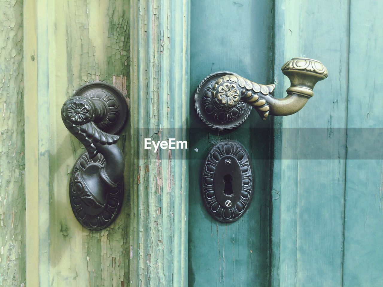 Close-Up Of Latches On Door