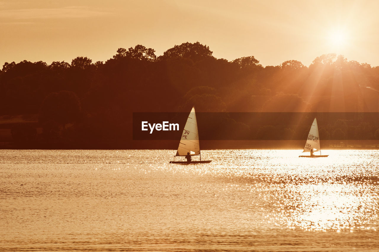 sunset, sunlight, nature, lens flare, waterfront, water, beauty in nature, tree, outdoors, scenics, sky, sailboat, real people, silhouette, tranquility, leisure activity, sea, sailing, nautical vessel, vacations, adventure, men, day, people