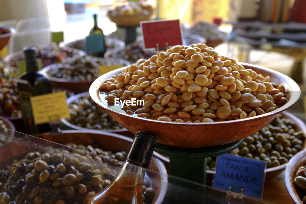 Various beans for sale at market stall