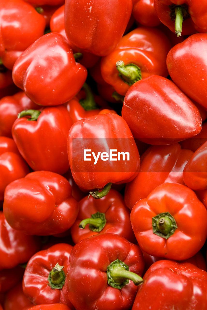 Full frame shot of bell peppers at market stall