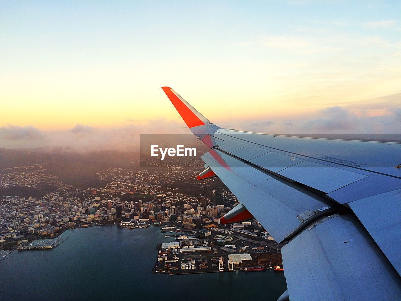 Aerial view of cityscape seen from plane