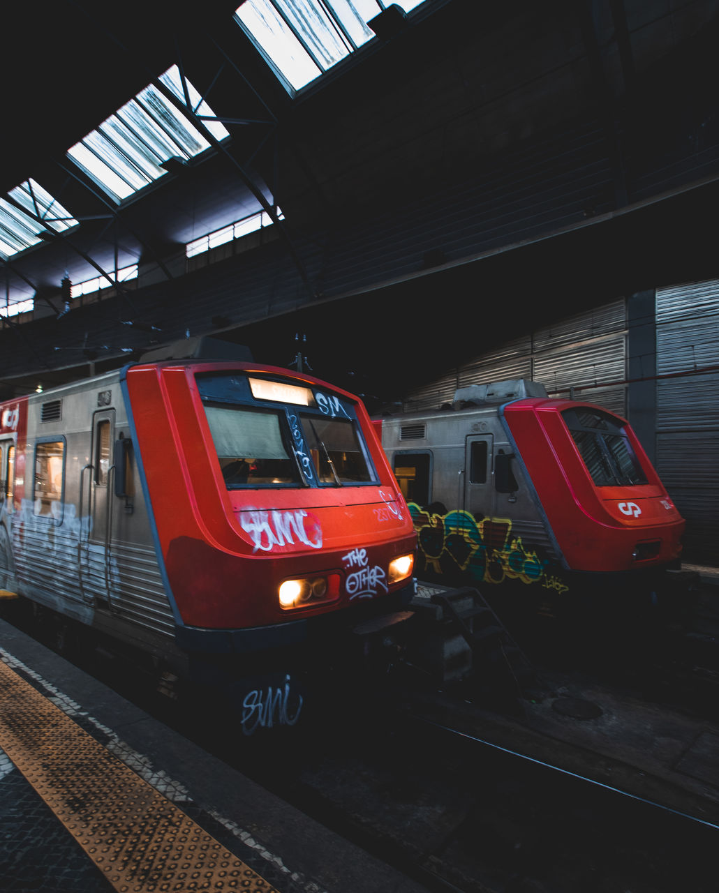 TRAIN ON RAILROAD STATION