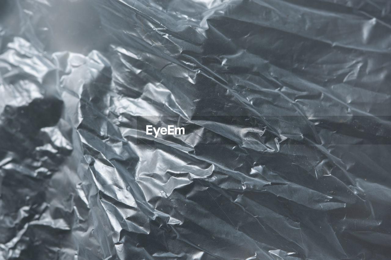 Full frame shot of crumpled plastic