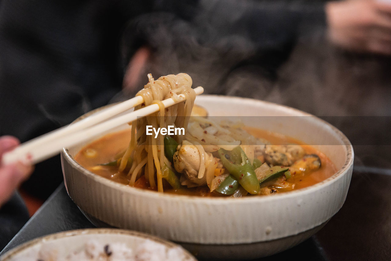 Close-up of noodle soup in bowl