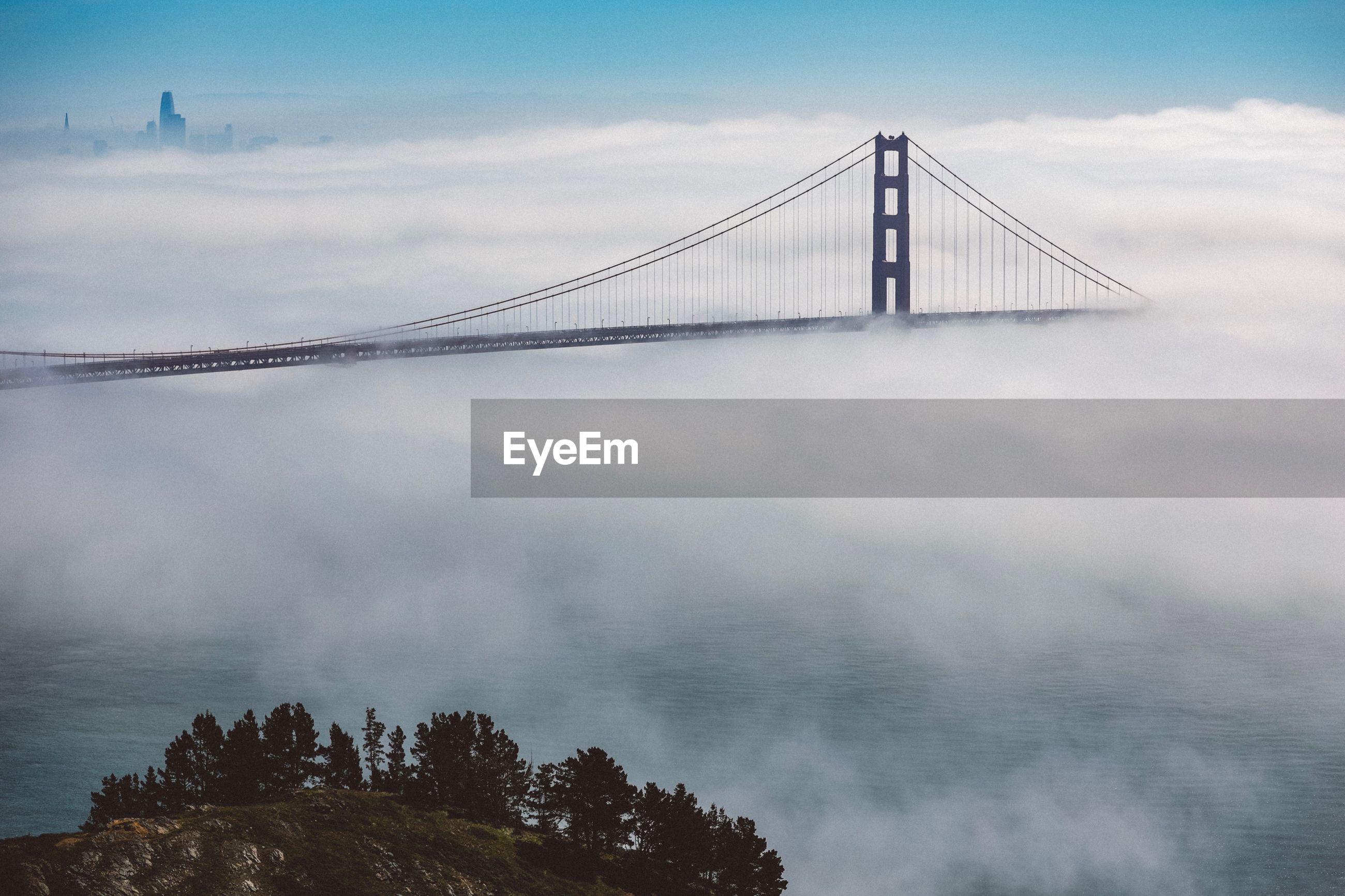 View of golden gate bridge amidst cloudscape