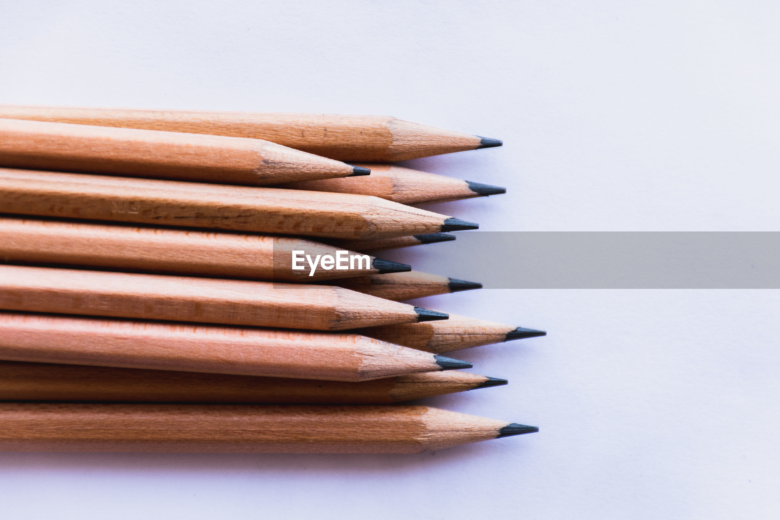 Pencils against white background