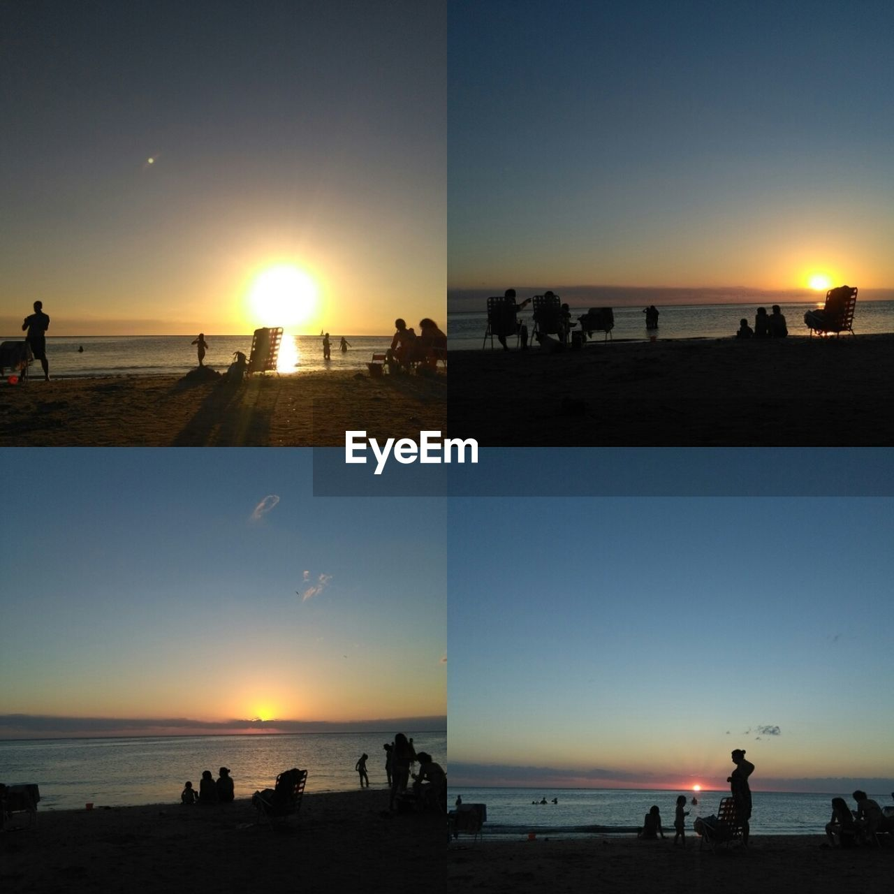 sunset, large group of people, beach, sea, water, real people, silhouette, sun, leisure activity, horizon over water, incidental people, vacations, beauty in nature, mixed age range, sky, nature, women, men, lifestyles, outdoors, weekend activities, enjoyment, scenics, clear sky, sand, travel destinations, collage, tree, day, people