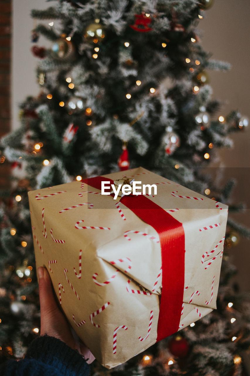 Close-up of christmas present
