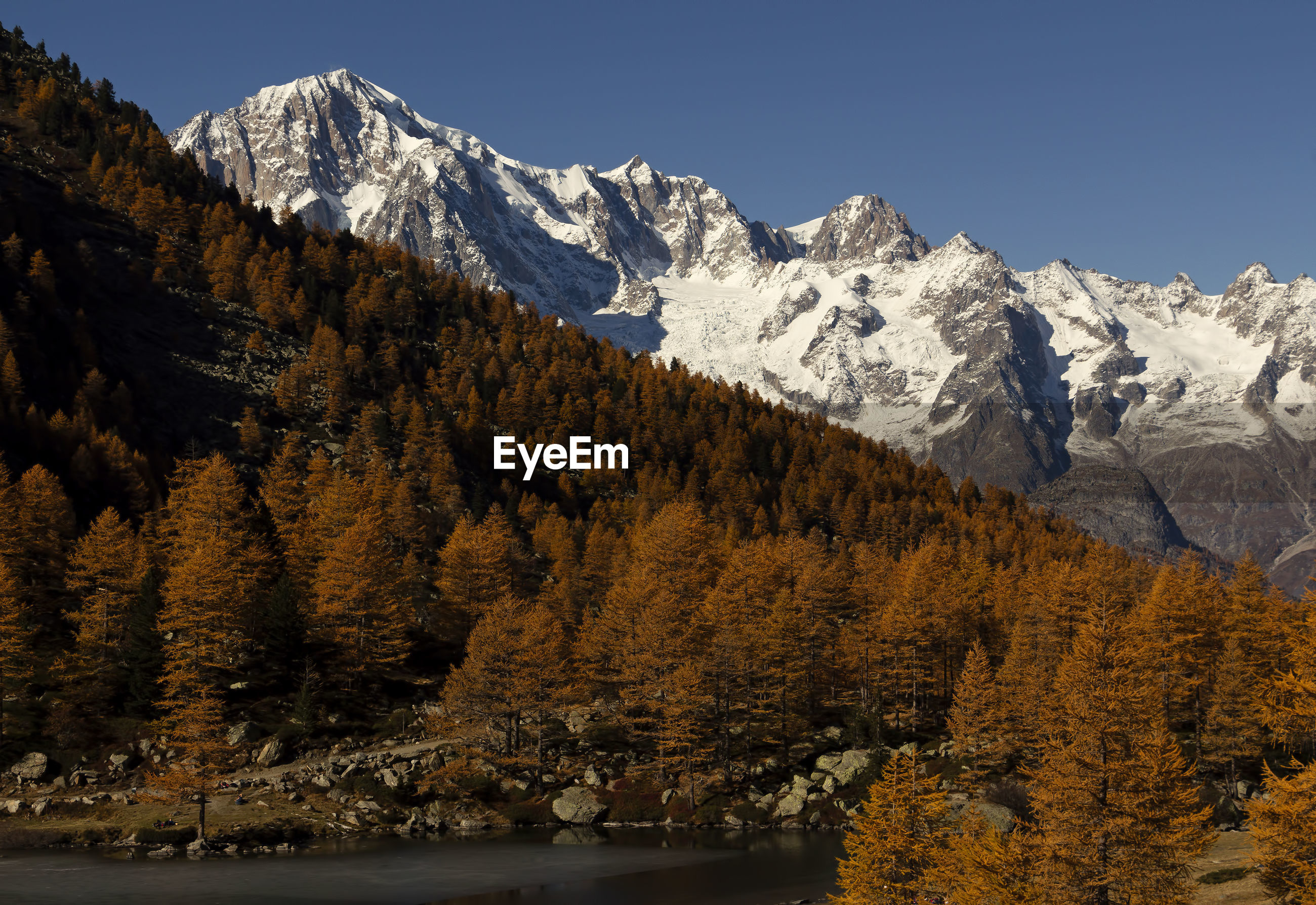 Scenic view of snowcapped mountains during autumn