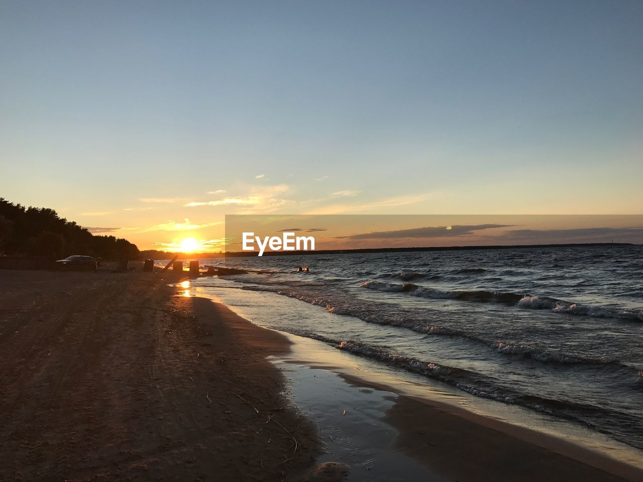 sunset, water, sky, scenics - nature, sea, beach, land, beauty in nature, tranquility, tranquil scene, nature, orange color, no people, idyllic, cloud - sky, sun, outdoors, non-urban scene, horizon