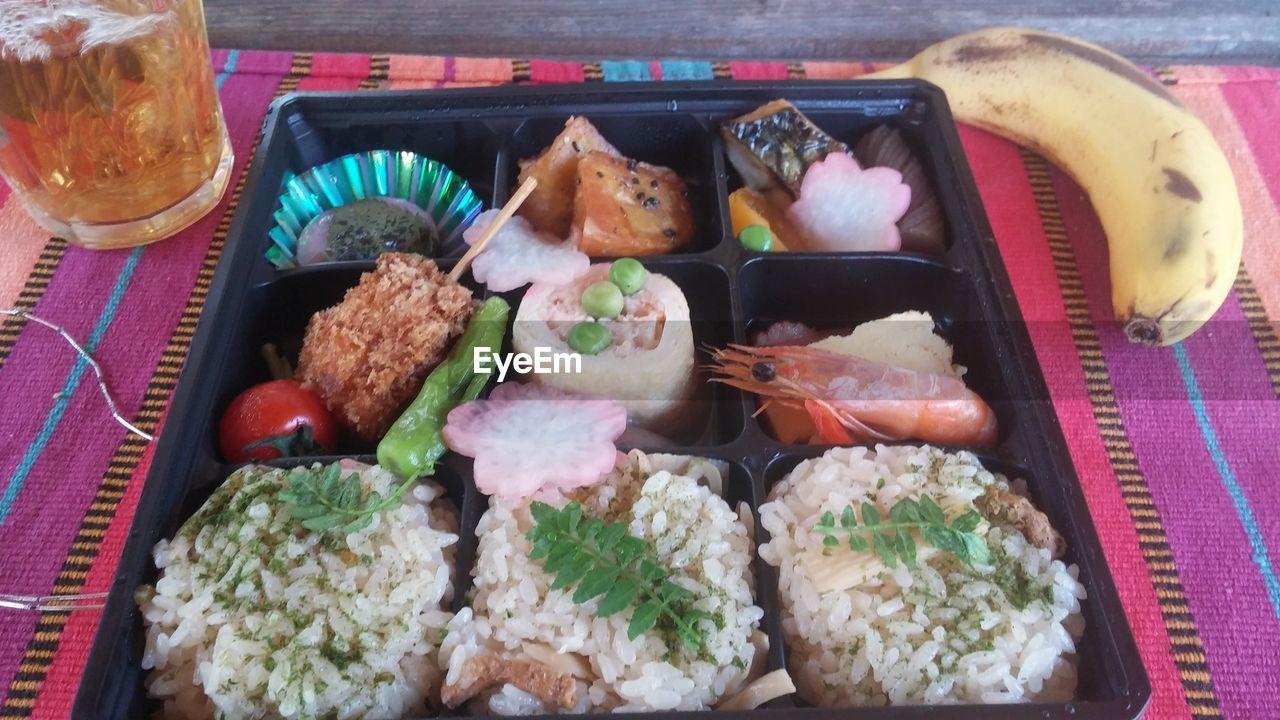 food and drink, food, indoors, high angle view, variation, no people, seafood, healthy eating, freshness, sushi, ready-to-eat, close-up, day, mammal