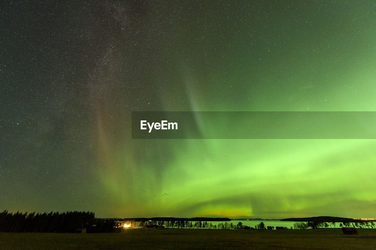 Scenic view of aurora sky at night