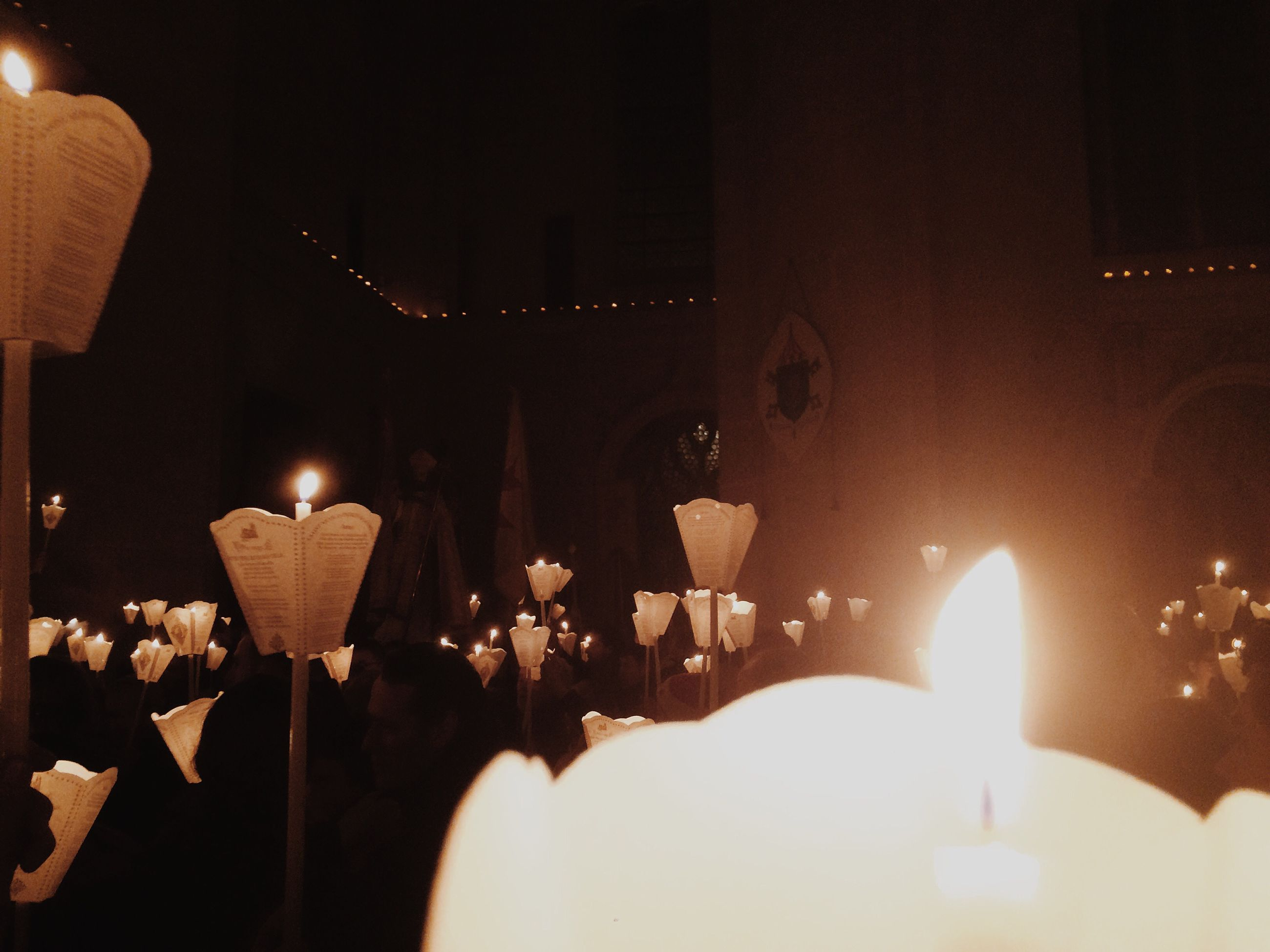 illuminated, night, lighting equipment, lit, glowing, light - natural phenomenon, dark, indoors, candle, built structure, decoration, architecture, burning, flame, electric light, religion, celebration, building exterior, light, street light