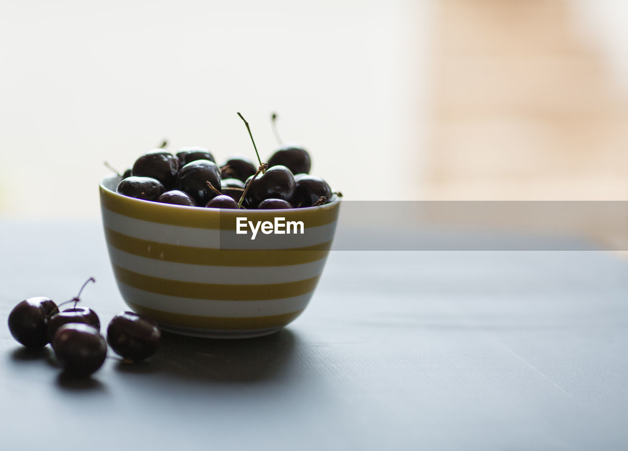 Close-up of cherries in bowl on table