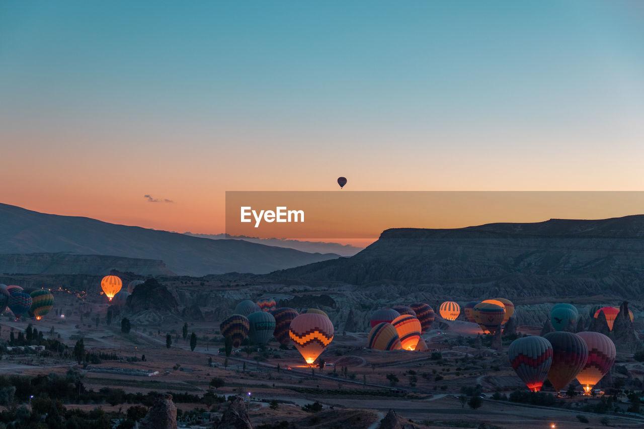 Hot Air Balloons At Cappadocia During Sunset