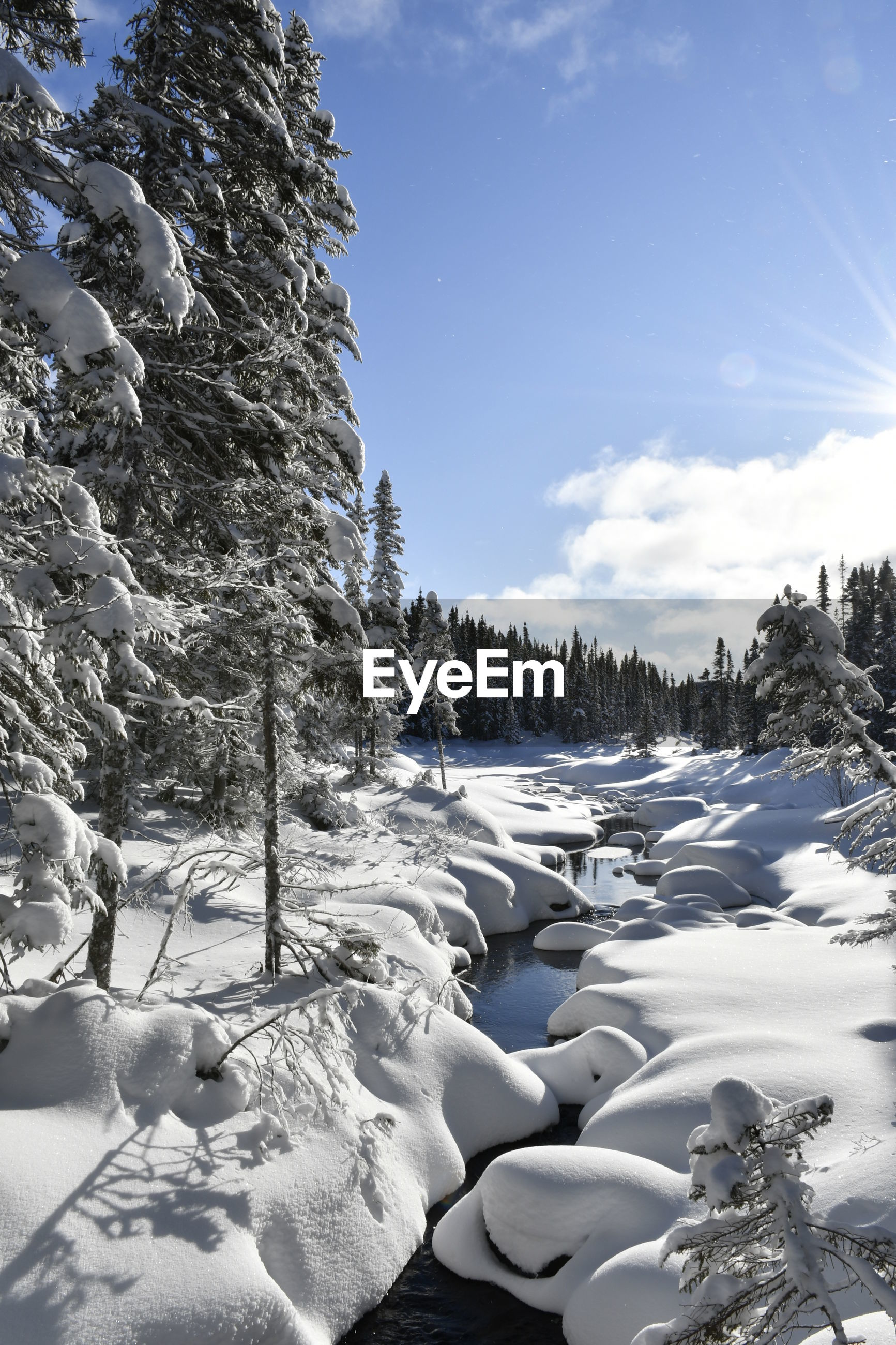 VIEW OF SNOW COVERED LAND AGAINST SKY