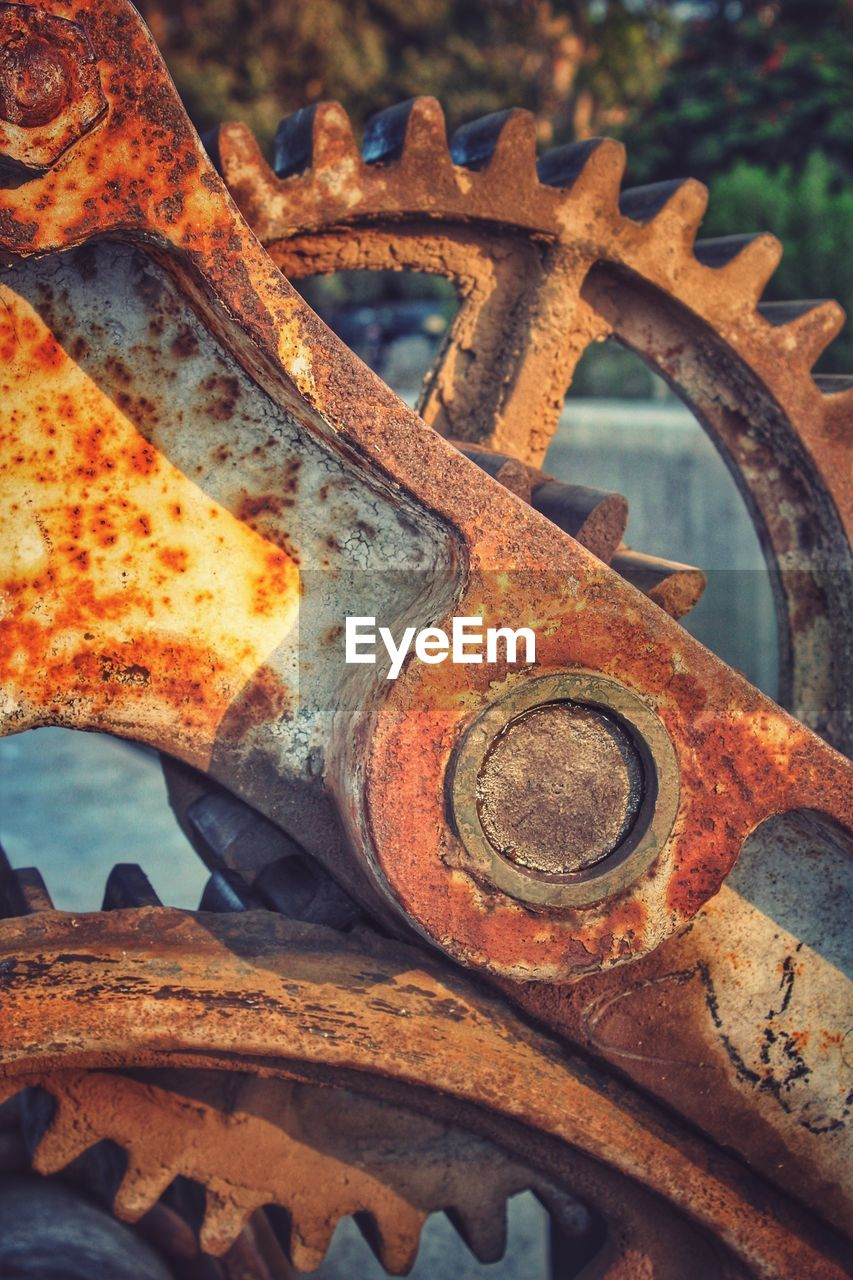 rusty, metal, damaged, abandoned, obsolete, run-down, machinery, weathered, deterioration, no people, outdoors, bad condition, close-up, day, gear, oil pump