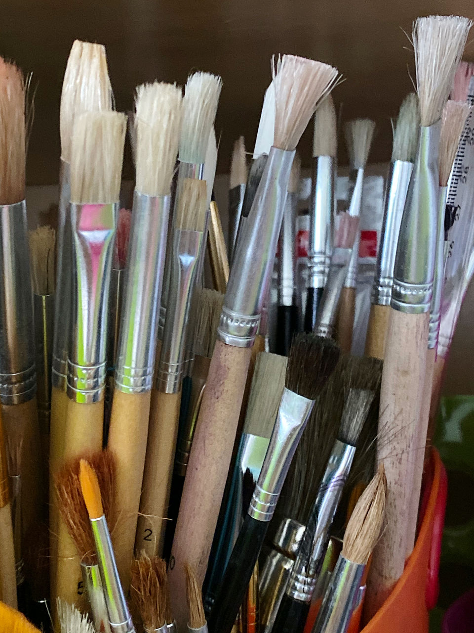 brush, paintbrush, choice, still life, art and craft, large group of objects, variation, no people, indoors, multi colored, craft, close-up, art and craft equipment, creativity, container, abundance, collection, wood - material, pen, arrangement