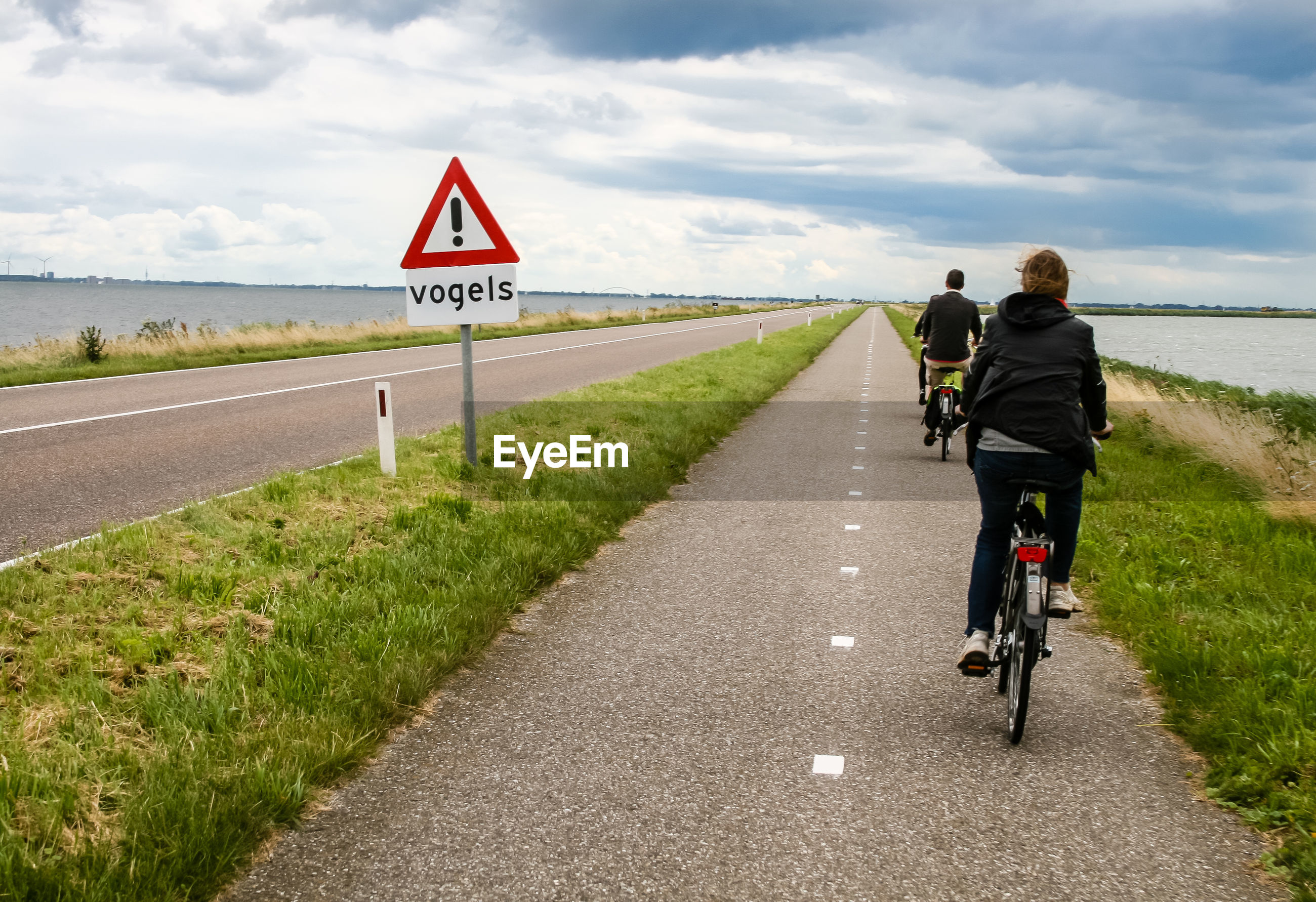 Rear view of people riding bicycles on road against sky