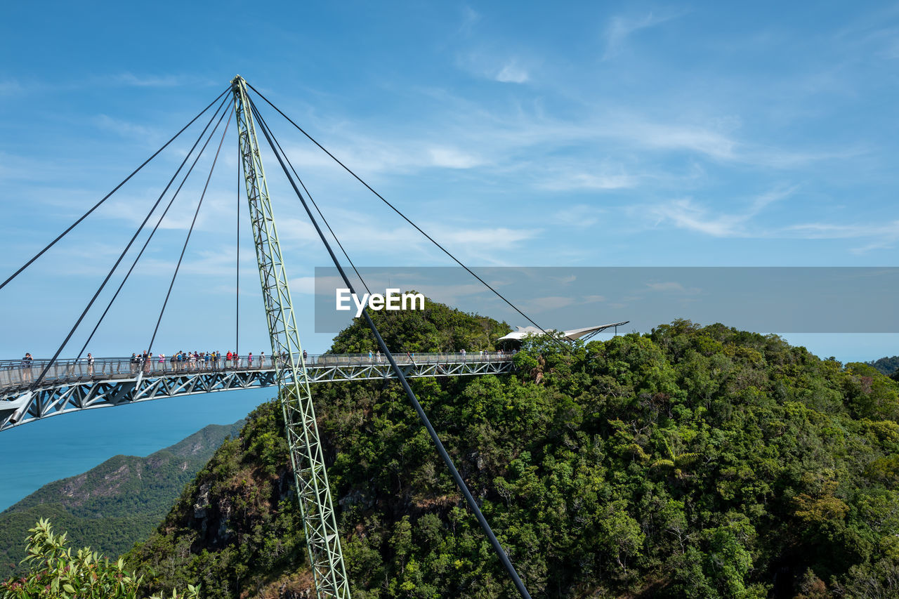 sky, connection, tree, built structure, architecture, plant, bridge - man made structure, bridge, nature, cloud - sky, transportation, suspension bridge, day, no people, green color, cable, beauty in nature, water, mountain, outdoors, bay
