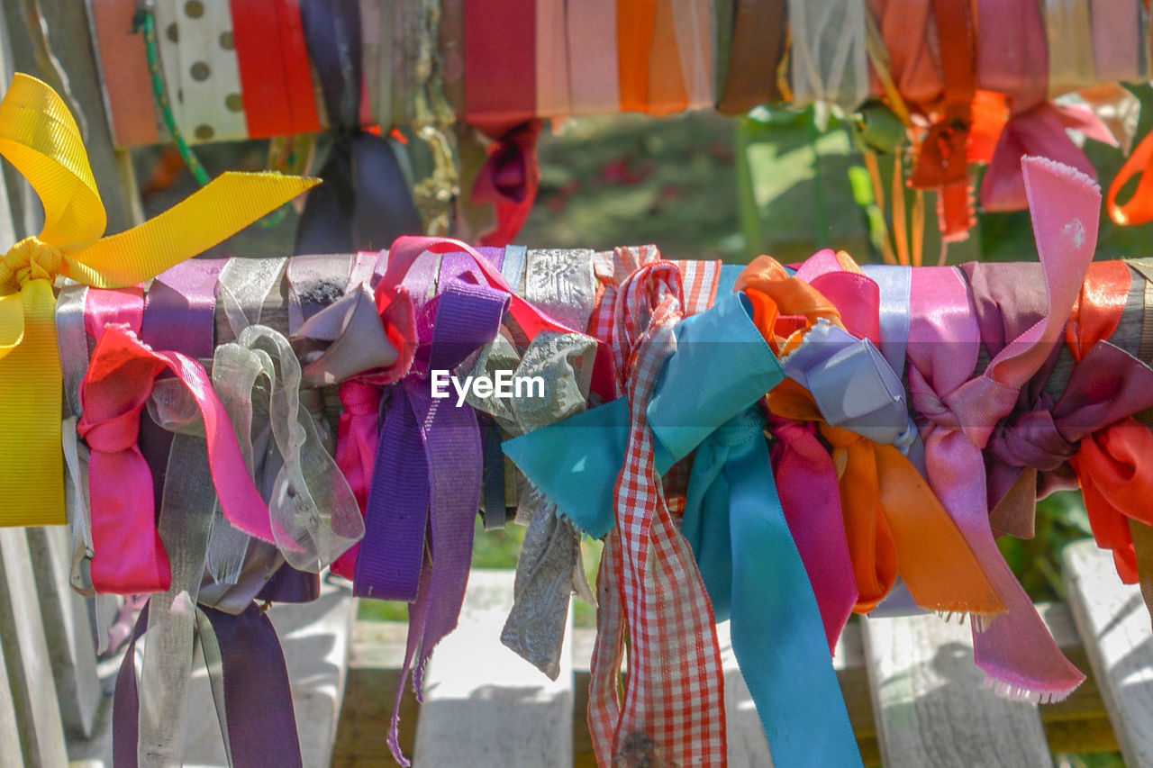 Colorful ribbons at market for sale