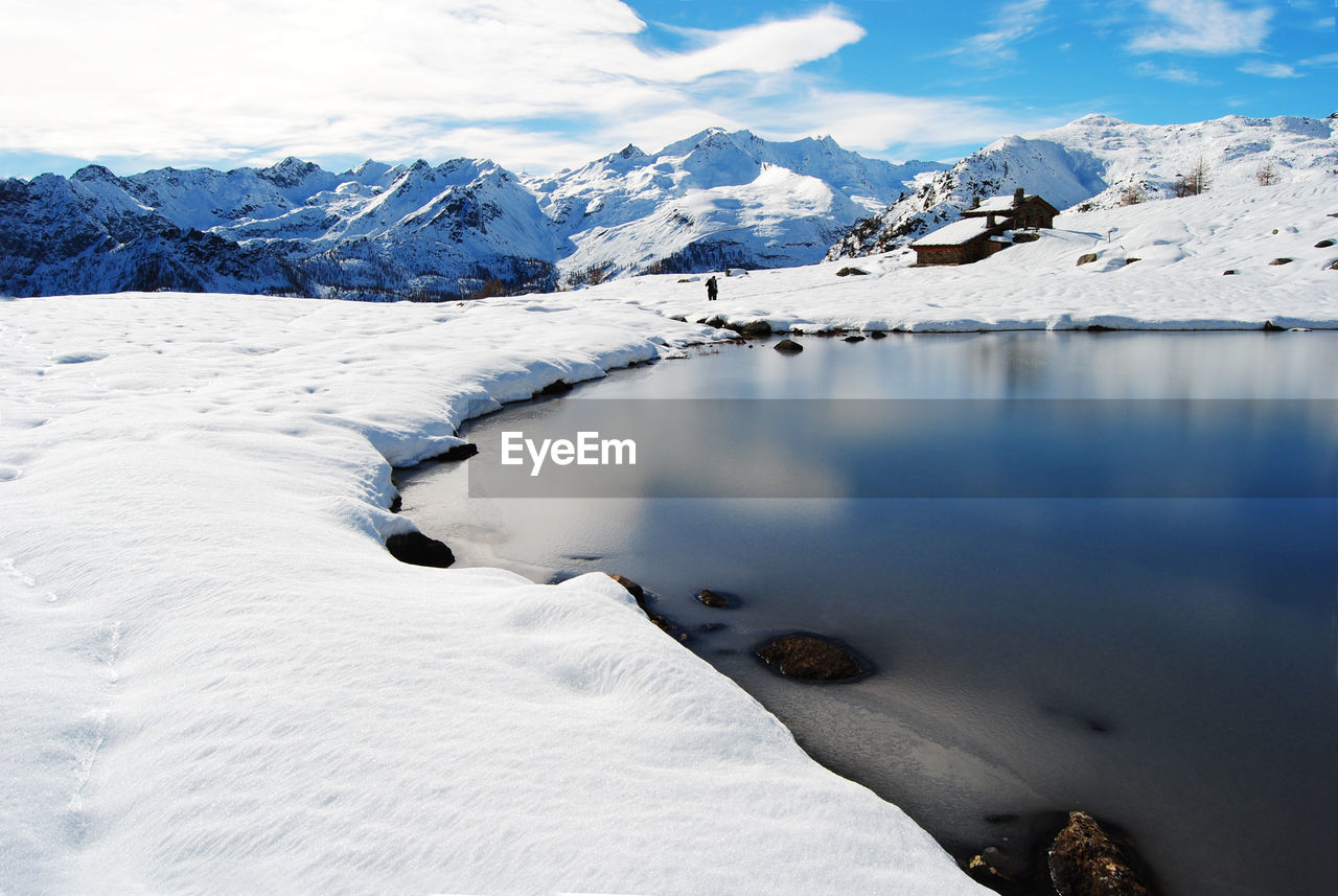 Frozen Lake And Snowcapped Mountains Against Sky