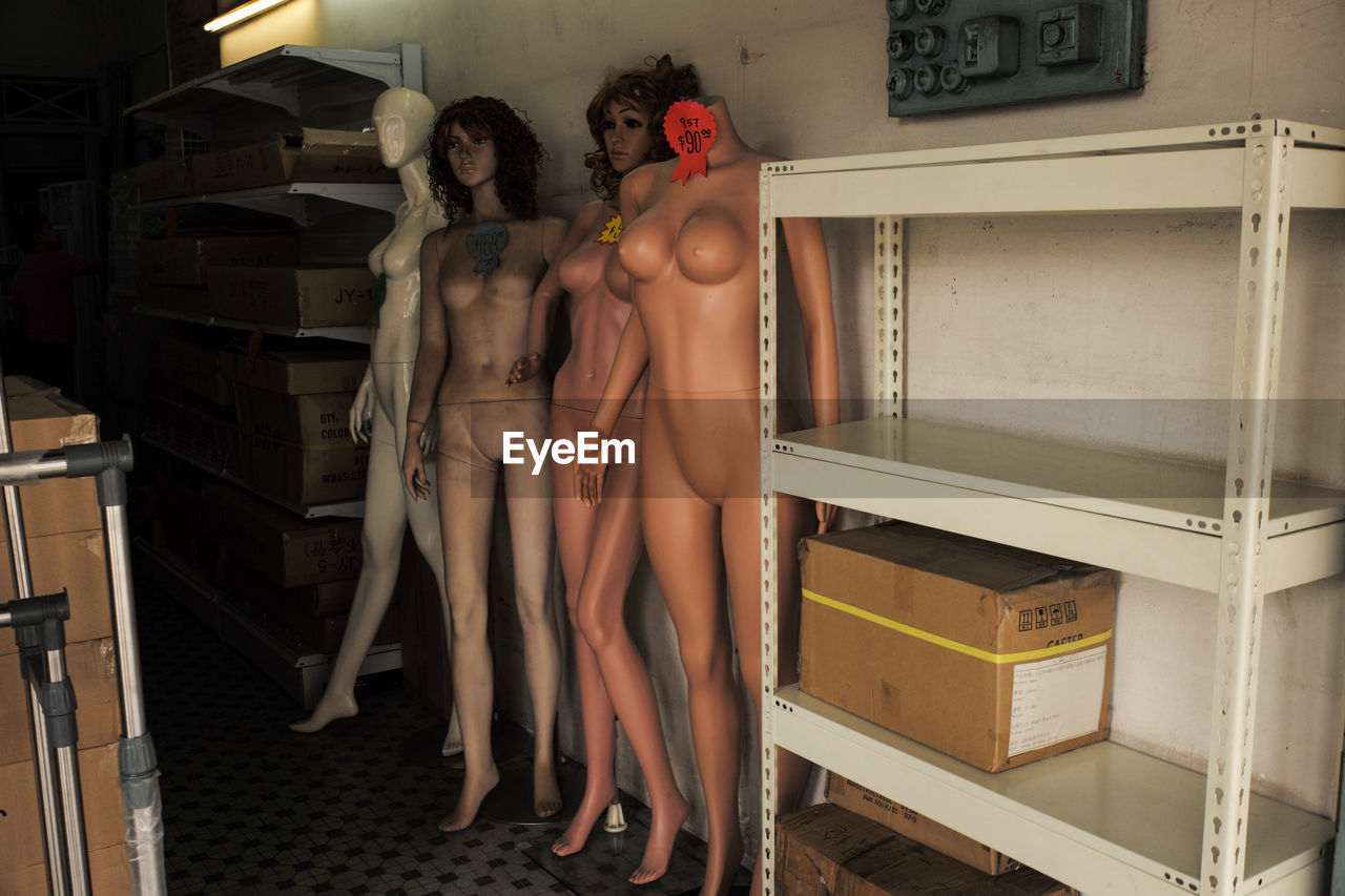 Mannequins By Shelf At Store